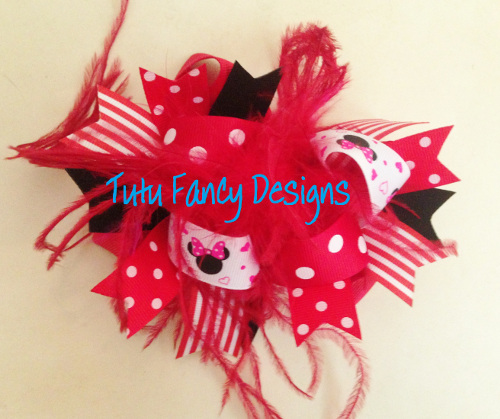Red and Black Hair Bow with Minnie Mouse- Medium