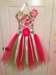 Ready To Ship Large Hanging TuTu Bow Holder - Fuschia, Light Pink, Green, Cream and White
