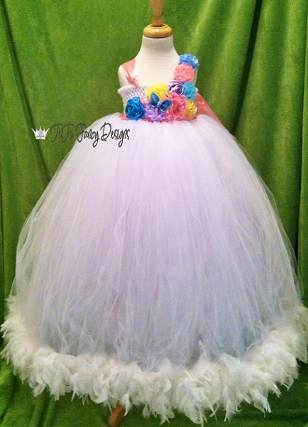 Flowers and Feathers Formal Tutu Dress