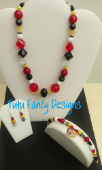 Miami Heat Inspired Jewelry Set - Necklace, Bracelet and Earrings