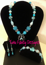 Light Blue and Silver Jewelry Set with a Flower Pendant- Necklace, Bracelet and Earrings