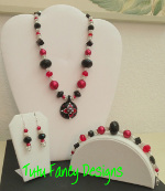 Red, Silver and Black Jewelry Set with a Glass Flower Pendant- Necklace, Bracelet and Earrings