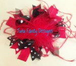 Red and Black Hair Bow - Large