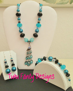 Elegant Teal, Silver and Black Jewelry Set with a Beautiful Peacock Pendant- Necklace, Bracelet and Earrings
